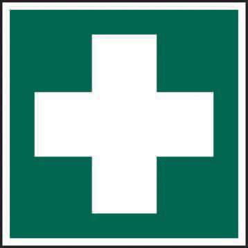 Self-Adhesive Vinyl First Aid Symbol sign (100 x 100mm). Easy to use and fix.