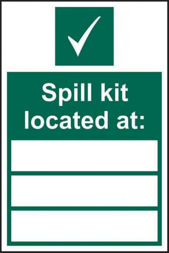 Spill Kit Located At' Sign; Non Adhesive Rigid 1mm PVC Board (200mm x 300mm)