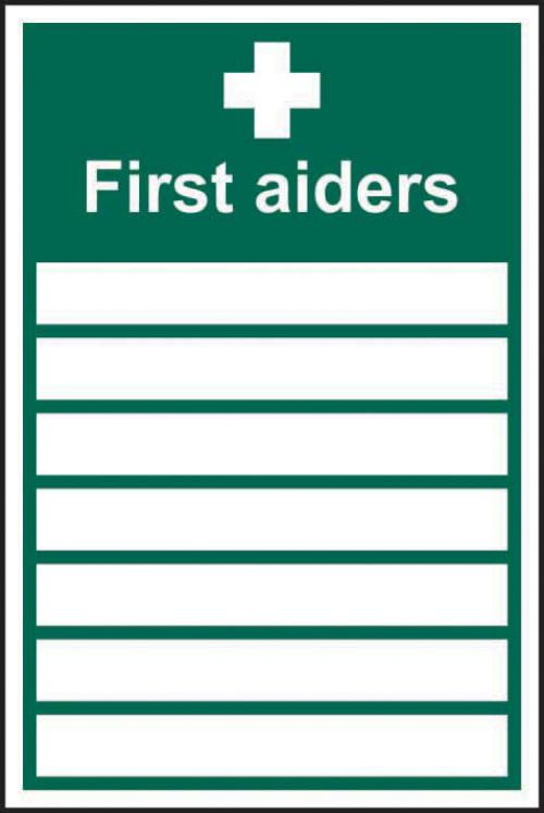 First Aiders____ sign (200mm x 300mm). Manufactured from strong rigid PVC and is non-adhesive; 0.8mm thick.