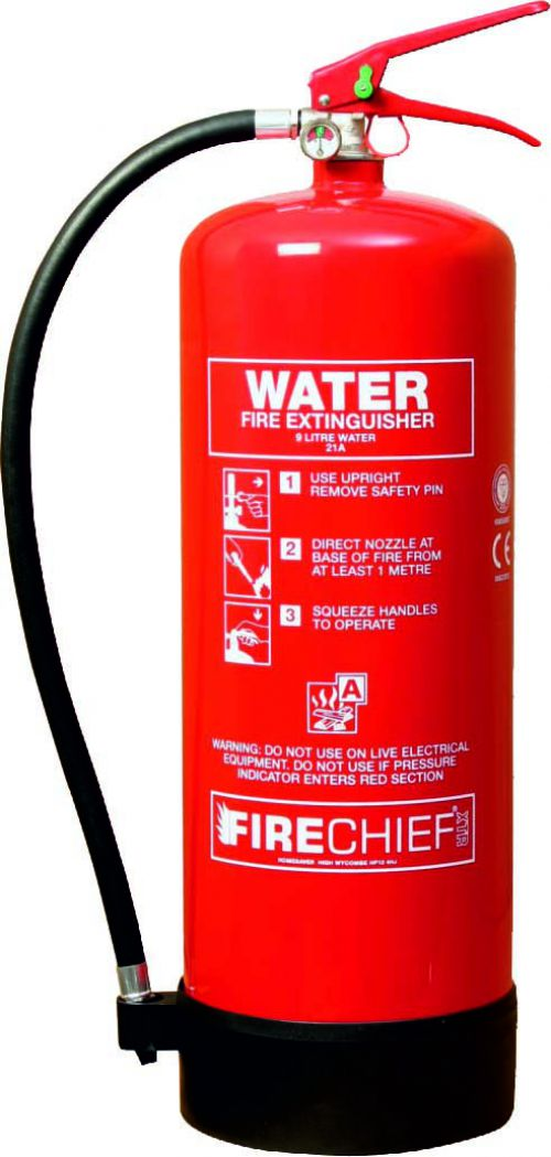 9 litre Spray Water (21A) Fire Extinguisher with corrosion resistant finish; internal polyethylene lining and squeeze grip operation.