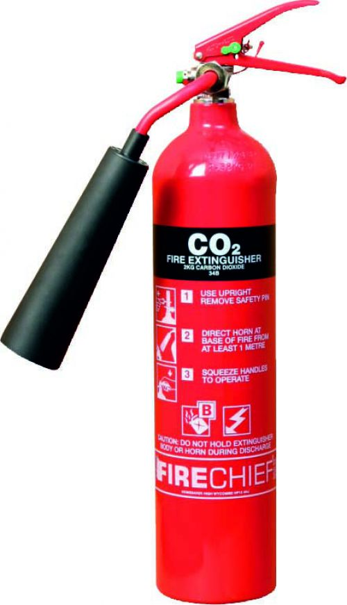 2kg CO2 (34B) Fire Extinguisher with aluminium alloy construction; corrosion resistant finish; internal polyethylene lining & squeeze grip operation.