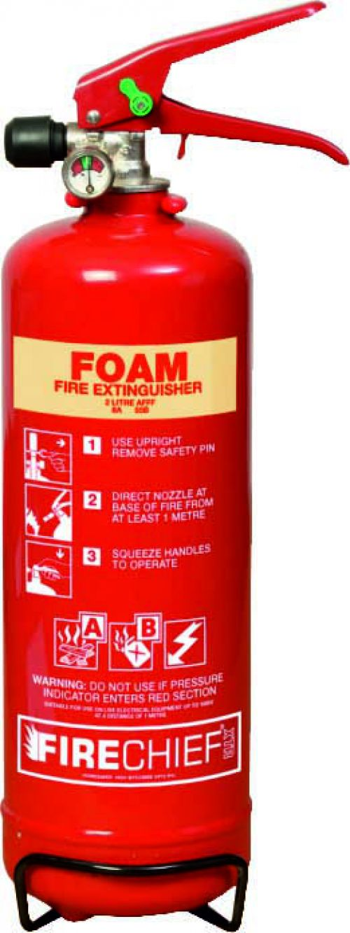2 Litre Foam (8A 55B) Fire Extinguisher with spray nozzle; corrosion resistant finish; internal polyethylene lining and squeeze grip operation.
