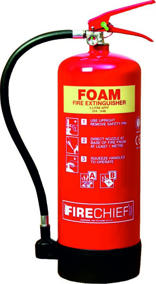 9 Litre Foam (27A 233B) Fire Extinguisher with spray nozzle; corrosion resistant finish; internal polyethylene lining and squeeze grip operation.