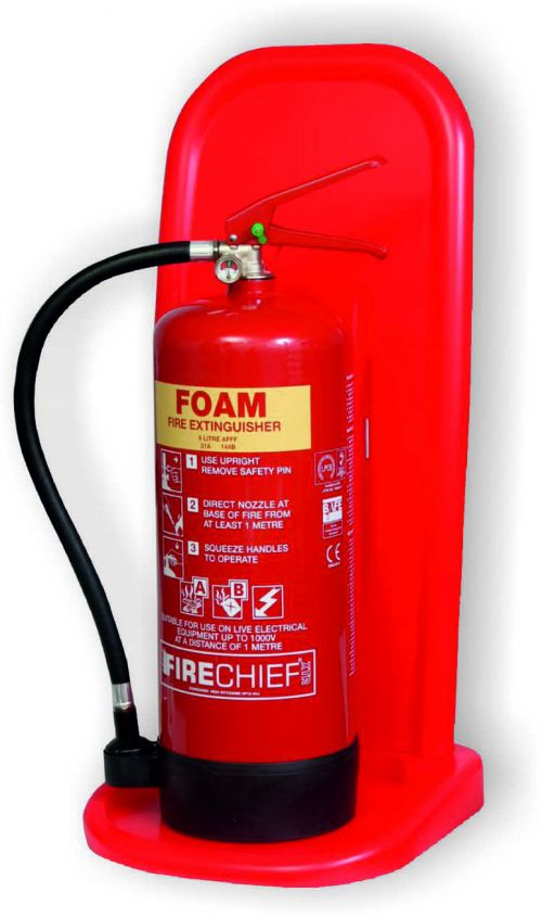 Single fire extinguisher stand manufactured from impact and chemical resistant plastic. Supplied in sections for easy transportation and assembly.