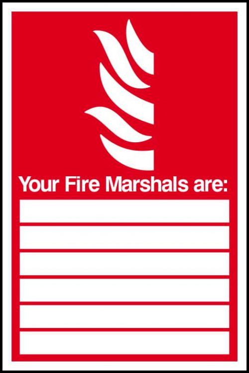 Self-adhesive vinyl Fire Marshals Are sign (200 x 300mm). Easy to use; simply peel off the backing and apply to a clean dry surface.
