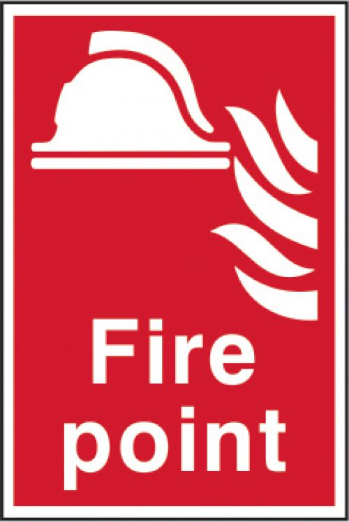 Self adhesive semi-rigid PVC Fire Point Sign (200 x 300mm). Easy to fix; simply peel off the backing and apply to a clean dry surface.