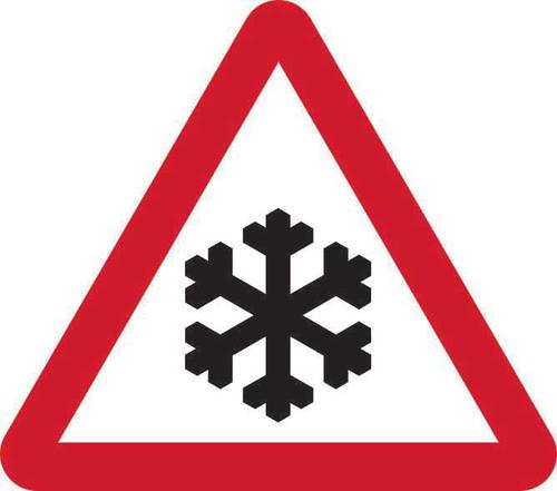 750mm Temporary Triangular Stanchion Sign- Risk of Ice