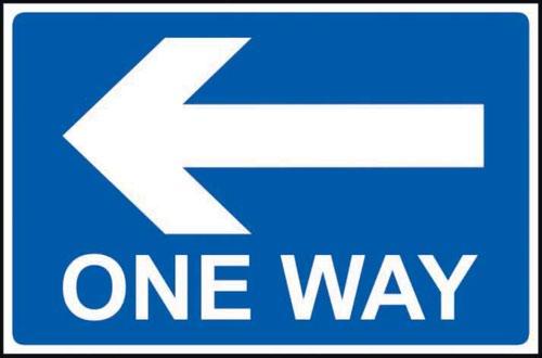 One Way Arrow Left' Sign; Non Adhesive Rigid PVC (600mm x 450mm)