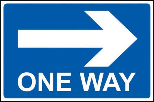 One Way Arrow Right' Sign; Non Adhesive Rigid PVC (600mm x 450mm)