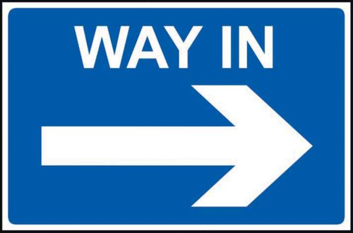 Way In Arrow Right' Sign; Non Adhesive Rigid PVC (600mm x 450mm)