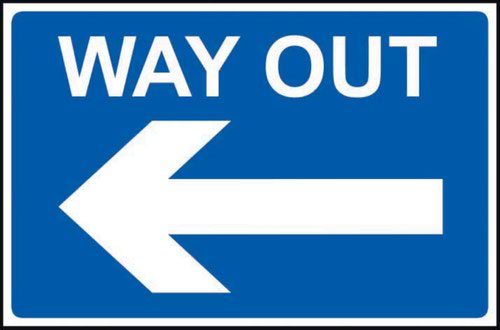 Way Out Arrow Left' Sign; Non Adhesive Rigid PVC (600mm x 450mm)