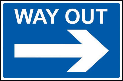 Way Out Arrow Right' Sign; Non Adhesive Rigid PVC (600mm x 450mm)