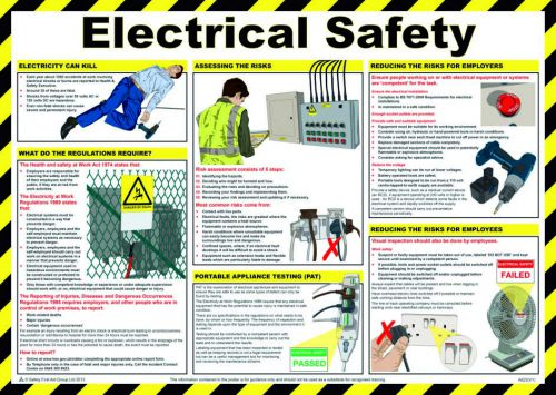 Safety Poster - Electrical Safety (590 x 420mm) made from laminated paper.