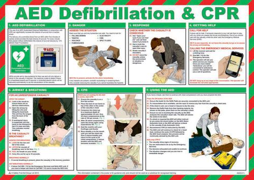 Safety Poster - AED Defibrillation & CPR (590 x 420mm) made from laminated paper.