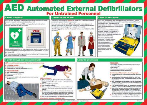 Safety Poster - AED Automated External Defibrillators (590 x 420mm) made from laminated paper.