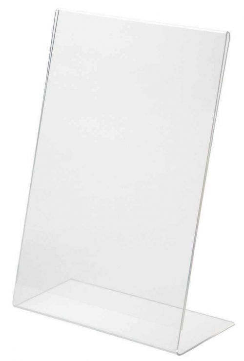 Injection moulded clear acrylic sign holder A5
