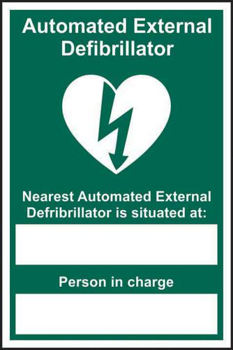 Automated External Defibrillator Nearest sign (200 x 300mm). Manufactured from strong rigid PVC and is non-adhesive; 0.8mm thick.