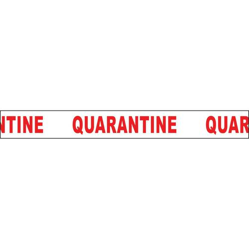 """Non adhesive barrier tape printed """"Quarantine"""" in red text on white tape; 75mm x 250m"""