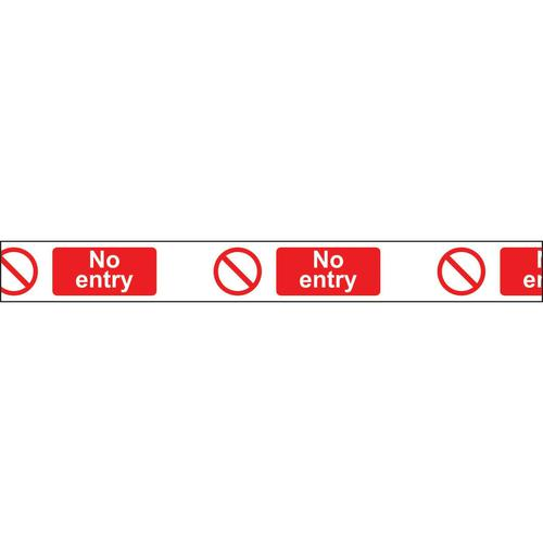"""Non adhesive barrier tape printed """"No Entry"""" in red text on white tape; 75mm x 250m"""
