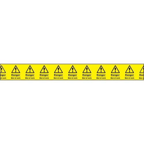 """Non adhesive barrier tape printed """"Danger Men At Work"""" in black text on yellow tape; 75mm x 250m"""