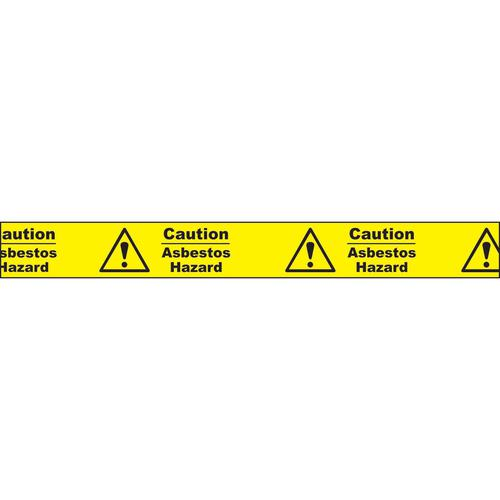 """Non adhesive barrier tape printed """"Caution Asbestos Hazard"""" in black text on yellow tape; 75mm x 250m"""
