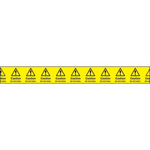 """Non adhesive barrier tape printed """"Caution Do Not Enter"""" in black text on yellow tape; 75mm x 250m"""