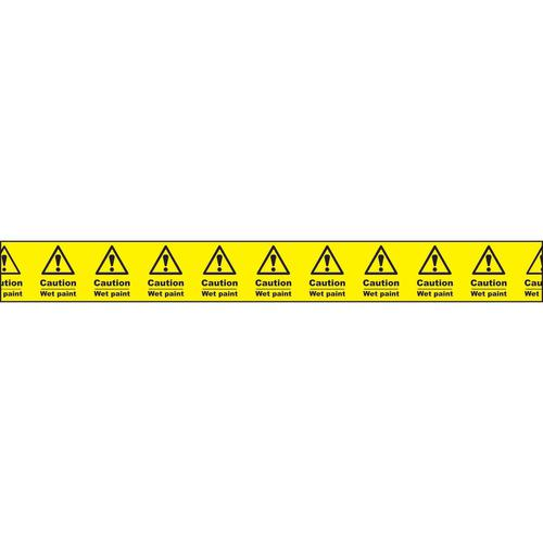"""Non adhesive barrier tape printed """"caution Wet Tape"""" in black text on yellow tape; 75mm x 250m"""