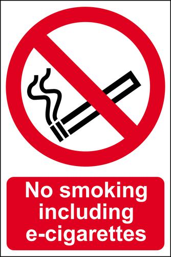 Self ad. semi-rigid PVC No Smoking Including E-Cigarettes sign (200 x 300mm). Easy to fix; peel off the backing and apply to a clean and dry surface.