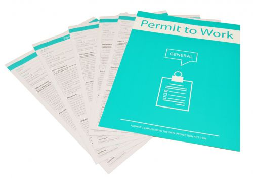 Permit to work forms record hazards and precautions relevant to the specific job. Three part form; original plus two carbon copies. Pack of 10.