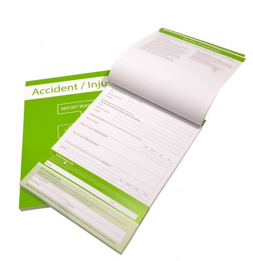 A4 Accident Record Book holds up to 100 incidents to ensure all employee and visitor accidents are recorded and compliance with law.