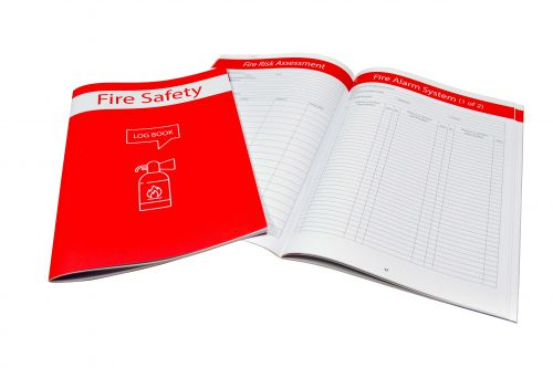 A4 Fire Safety Log for keeping all records up to date. Keeps critical info in one place. Includes tips on extinguishers; lights; drills and alarms.