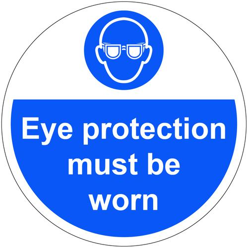Eye Protection Must Be Worn Floor Graphic adheres to most smooth clean flat surfaces and provides a durable long lasting safety message. 400mm dia.