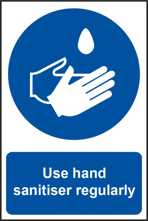 Use Hand Sanitiser Regularly Sign (200 x 300mm). Manufactured from strong rigid PVC and is non-adhesive; 0.8mm thick.