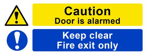 Self-Adhesive Vinyl Caution Door Is Alarmed / Keep Clear / Fire Exit Only sign (400 x 150mm). Easy to use and fix.