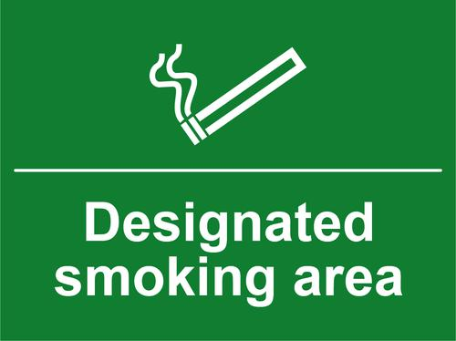 Designated Smoking Area sign (400 x 300mm). Manufactured from strong rigid PVC and is non-adhesive; 0.8mm thick.