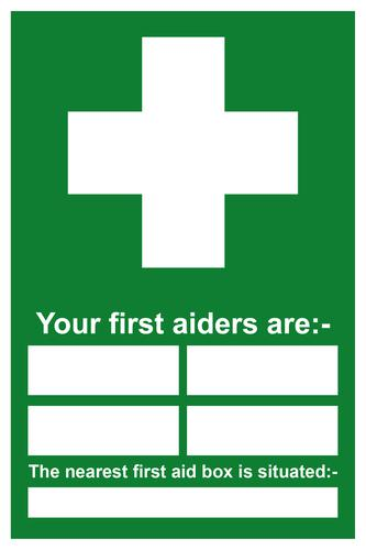 Your First Aiders Are sign (400 x 600mm). Manufactured from strong rigid PVC and is non-adhesive; 0.8mm thick.