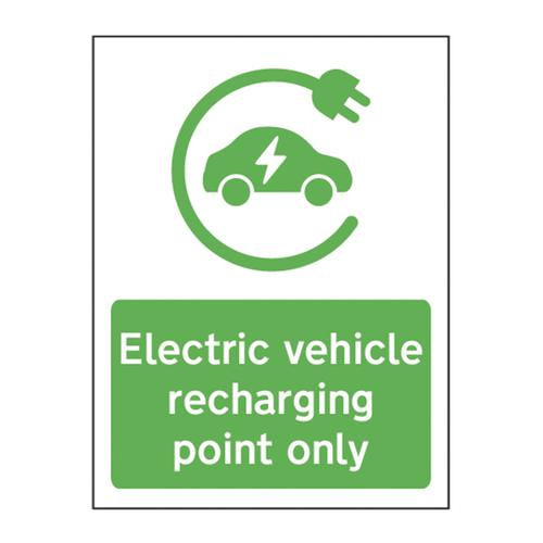 'Electric Vehicle Recharging Point Only' Sign -  Rigid 1mm PVC (300mm x 400mm)