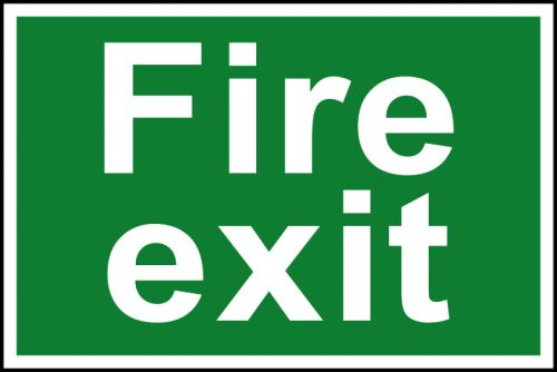 Spectrum Industrial Fire Exit Text S/A PVC Sign 300x200mm 1502