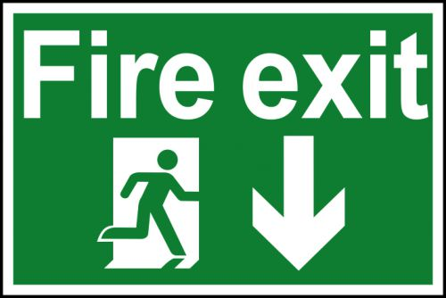 Spectrum Industrial Fire Exit RM Arrow Down S/A PVC Sign 300x200mm 1503