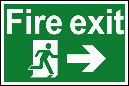 Spectrum Industrial Fire Exit RM Arrow Right S/A PVC Sign 300x200mm 1504