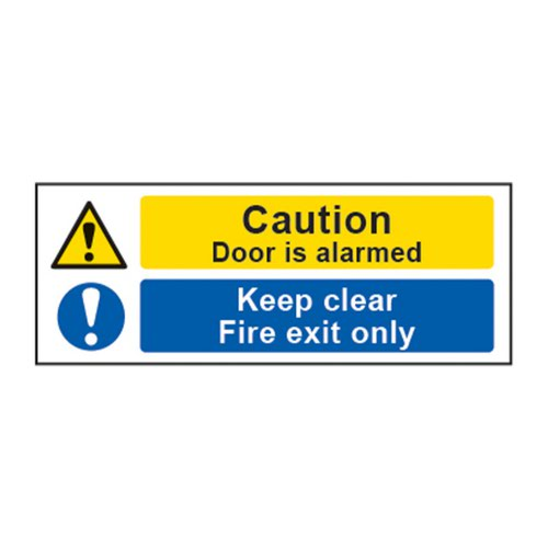 Caution Door Is Alarmed / Keep Clear / Fire Exit Only' Sign; Non Adhesive 1mm Rigid PVC (400mm x 150mm)