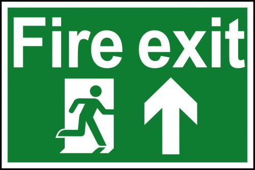 Spectrum Industrial Fire Exit RM Arrow Up S/A PVC Sign 300x200mm 1505
