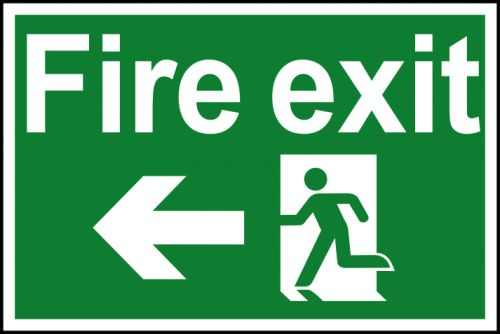 Spectrum Industrial Fire Exit RM Arrow Left S/A PVC Sign 300x200mm 1506
