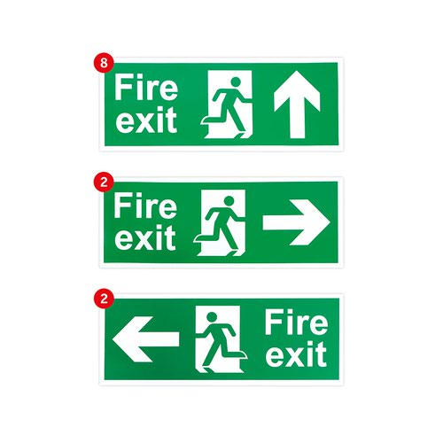 Fire Exit Signage Pack, Self Adhesive Vinyl, Small