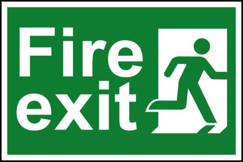 Spectrum Industrial Fire Exit RM Right S/A PVC Sign 300x200mm 1507