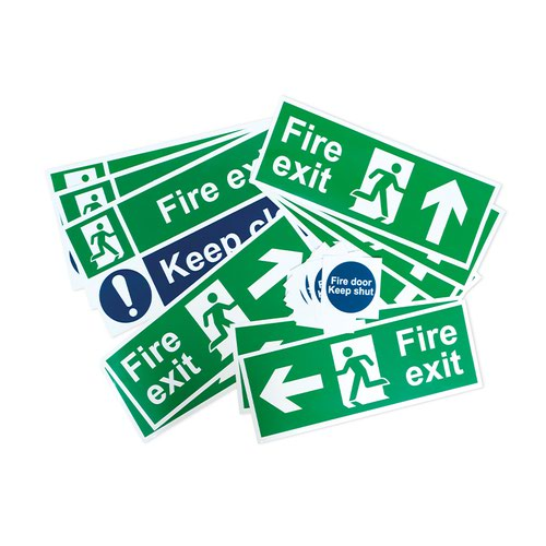 Fire Exit Signage Pack, Non Adhesive 1mm Rigid PVC Board, Small