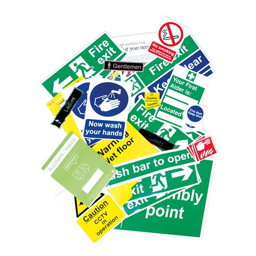 Health And Safety Signage Pack, Non Adhesive 1mm Rigid PVC Board