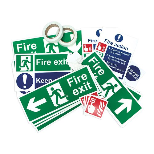 Fire Safety Signage Pack, Photoluminescent, Non Adhesive 1mm Rigid PVC Board