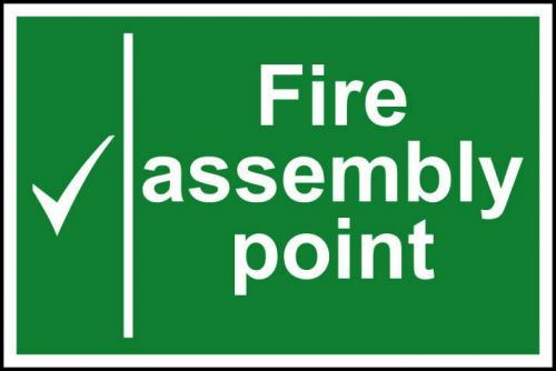 Self adhesive semi-rigid PVC Fire Assembly Point sign (300 x 200mm). Easy to fix; simply peel off the backing and apply to a clean dry surface.