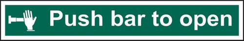 Push Bar To Open' Sign; Self-Adhesive Semi-Rigid PVC (600mm x 100mm)